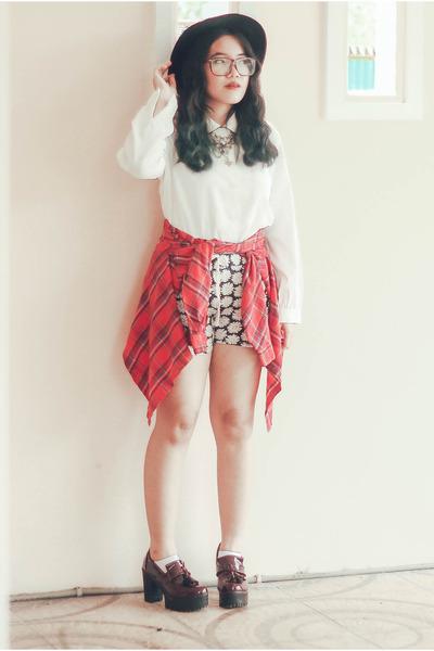white vintage shirt - ruby red tartan vintage shirt - crimson platforms heels