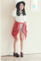 white vintage shirt - ruby red tartan vintage shirt - crimson platforms heels