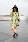 Black-boots-yellow-printed-choies-dress-black-fedora-hat
