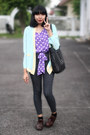 Dark-brown-shoes-light-blue-chiffon-blazer-black-quilted-bag
