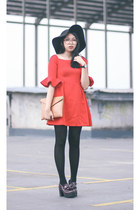 black tights - crimson platforms Lasenora shoes - red Thefashionshopp dress