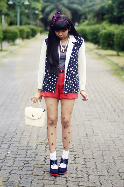 navy printed blazer - ivory bag - red shorts - white socks - navy wedges