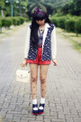 Navy-printed-blazer-ivory-bag-red-shorts-white-socks-navy-wedges