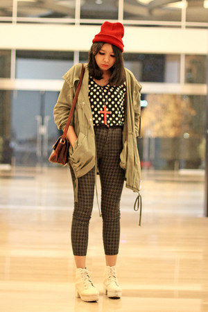 white platform boots - army green parka Choies jacket - black polka dot top