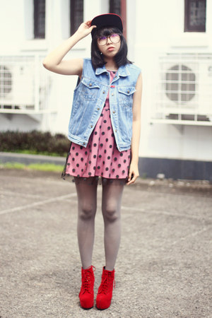sky blue denim vest - red boots - bubble gum polka dot dress