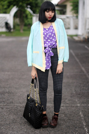 purple polka dot top - dark brown shoes - light blue chiffon blazer