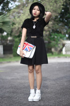 black hat - white boots - black skirt - black faux fur top
