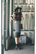 black Lapink blouse - black houndstooth Lapink skirt - platforms Lasenora heels
