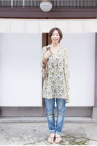 green dress - blue H&M jeans - brown Gucci bag