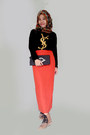 Boots-tribal-scarf-chanel-bag-ysl-t-shirt-skirt