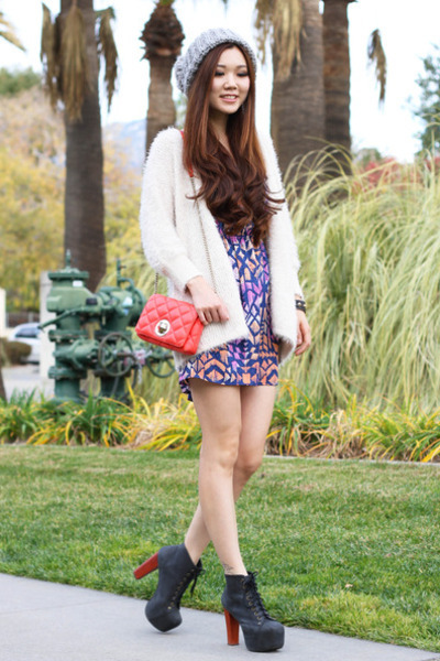 ivory fur Forever 21 cardigan - amethyst prints Forever 21 dress