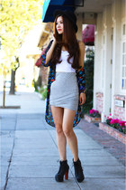heather gray bubble skirt Dolled Up skirt - black kimono Nordstrom jacket