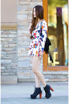 white floral DressLink romper - black leather Jeffrey Campbell boots
