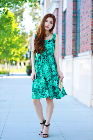 green floral PERSUNMALL dress - beige studded bag