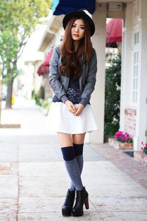 gray faux leather Charlotte Russe jacket - navy Urban Outfitters socks