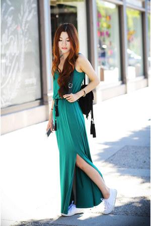 teal maxi dress asos dress - black fringe asos bag