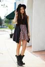 Black-leather-zigisoho-boots-bubble-gum-floral-local-store-dress