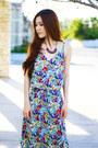 Black-chunky-c-label-shoes-turquoise-blue-tropical-morphologie-dress