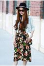 Black-booties-topshop-boots-black-floral-midi-nastygal-dress
