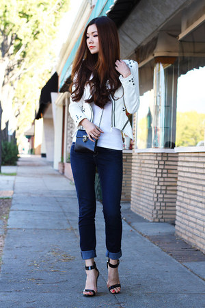 white studded Local store jacket - navy skinny jeans aos jeans