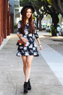 Black-floral-charlotte-russe-dress-brown-chain-nordstrom-bag