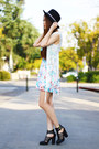 Light-blue-floral-cotton-on-dress-ivory-fringe-poof-vest