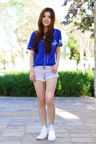 blue Victorias Secret top - white summer cotton on shorts - white nike sneakers