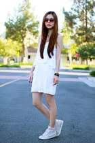 white asos dress - ivory nike sneakers