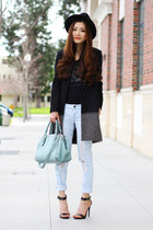 black winter All Saints coat - light blue boyfriend jeans