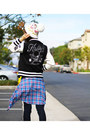 White-winter-from-japan-hat-navy-from-japan-jacket-blue-plaid-superdry-shirt