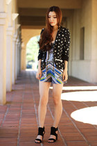 black floral print Sugar Hill blazer - blue prints Morphologie romper