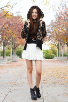 black fur Juicy Couture jacket - white lace Wet Seal skirt