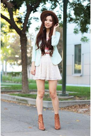 ivory lace H&M skirt - camel camel Zara boots