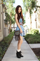 sky blue Forever 21 vest - black chunky heel Urban Outfitters boots