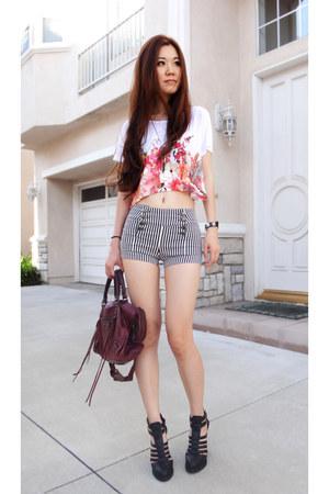 white floral print Zara t-shirt - maroon balenciaga bag - black Qupid heels