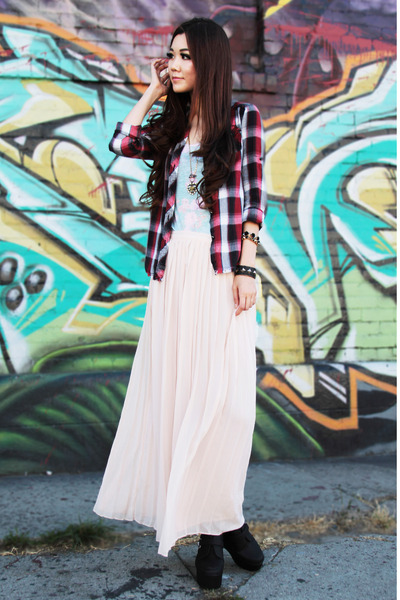 light pink Urban Outfitters skirt - black plaid Metropark shirt