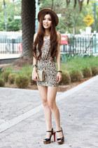 leopard print H&M skirt - chain Zara hat - platform Steve Madden heels