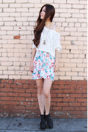 sky blue floral cotton on dress - white Lush sweater