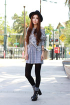 black Topshop boots - black Zara hat