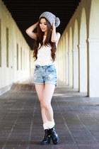 white beanie Nordstrom hat - light blue denim brandy melville shorts