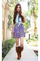 violet prints Forever 21 dress - brown sheepskin Minnetonka boots