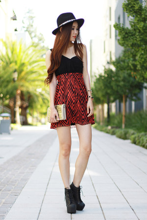 brick red Charlotte Russe dress - black chunky Jeffrey Campbell boots