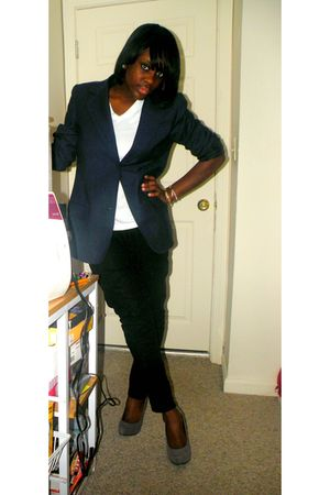 gray f21 shoes - black hnm pants - white v-neck - blazer