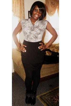 black H&M skirt - black f21 leggings - silver H&M blouse - black Macys boots