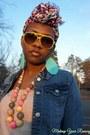 Blue-denim-jacket-light-pink-leopard-h-m-scarf-aquamarine-clutch-aldo-bag