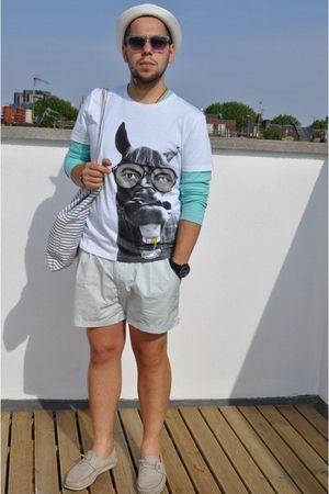 Zara shoes - H&M hat - H&M shorts - new look t-shirt - mint color Uniqlo t-shirt