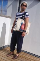 Zarablue stripe t-shirt - H&Mred stripe t-shirt - pyjama from Tezenis pants - Ku