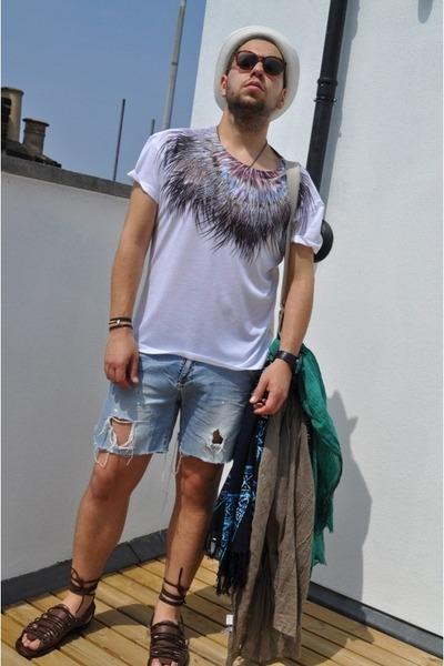 H&M t-shirt - DIY shorts - Kurt Geiger shoes - H&M hat - H&M