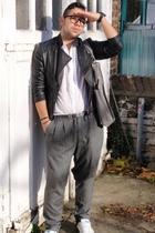 Zara jacket - Zara shirt - vintage pants - H&M Bag accessories