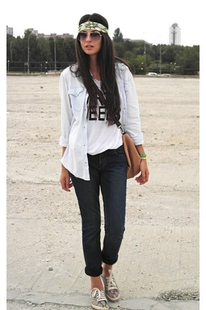 H&M shirt - Topshop jeans - Zara bag - H&M top - H&M sneakers